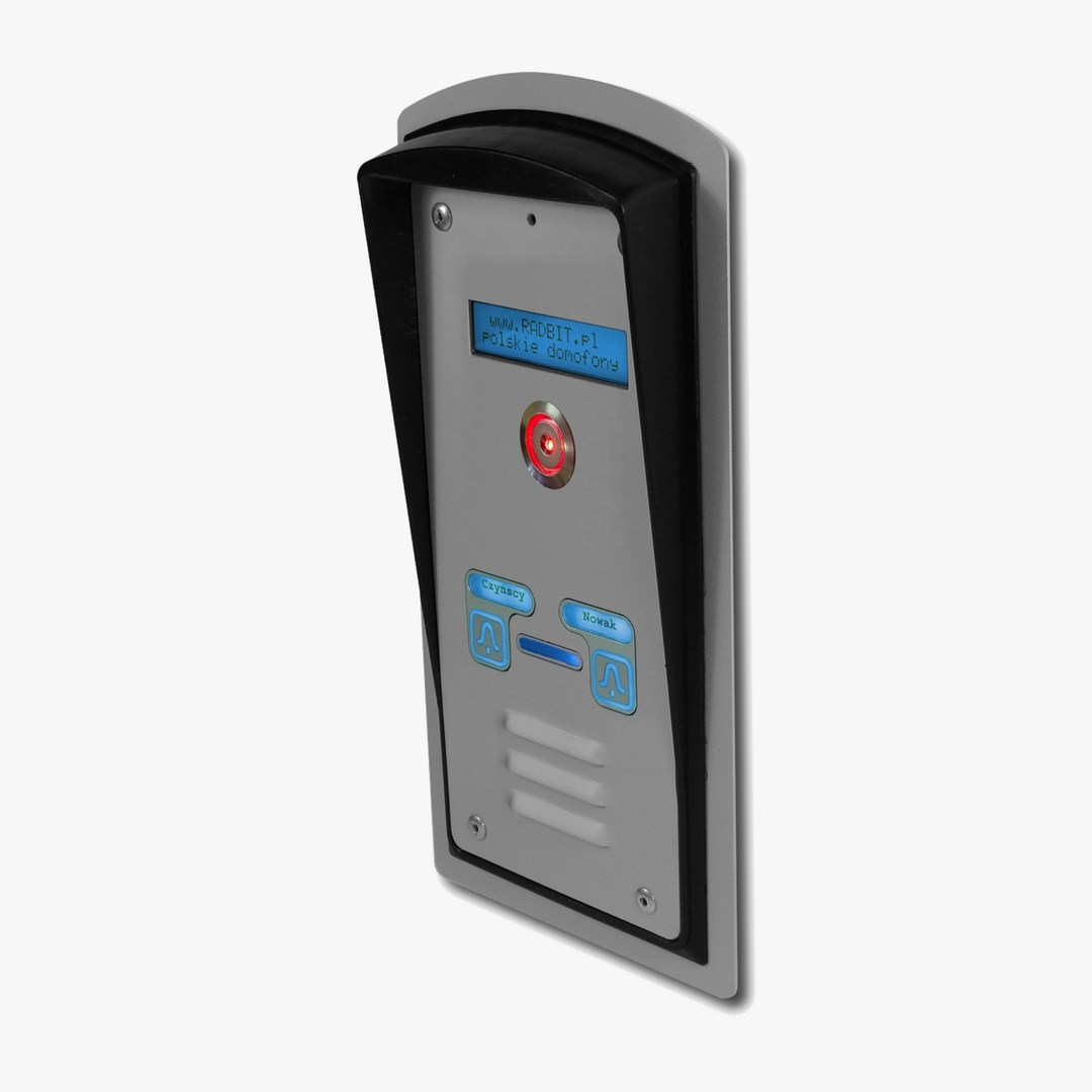 Domofon dwurodzinny z czytnikiem Dallas, interkomem i wyświetlaczem LCD, podtynkowy