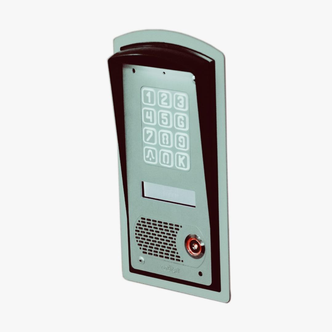 Cyfrowy domofon wielorodzinny z szyfratorem i czytnikiem oraz wyświetlaczem LCD, do bloku, podtynkowy