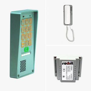 Zestaw domofonowy jednorodzinny z szyfratorem: kaseta, zasilacz, unifon