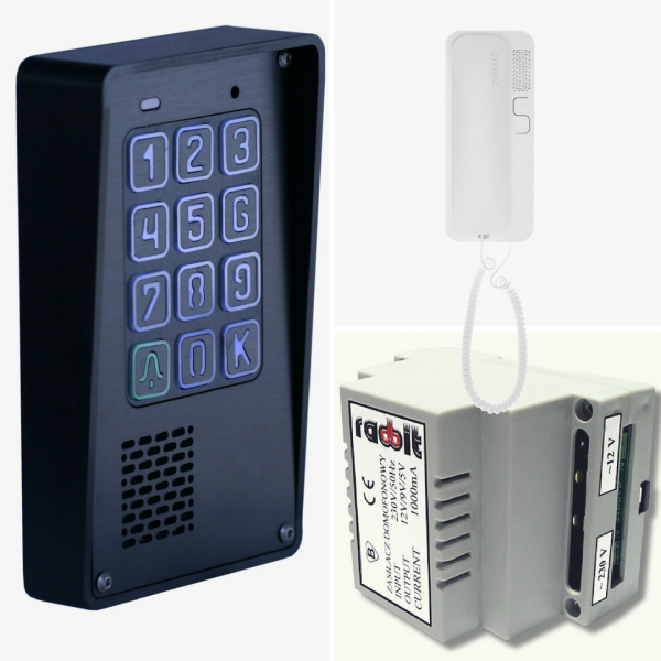 Zestaw domofonowy cyfrowy z szyfratorem, natynkowy