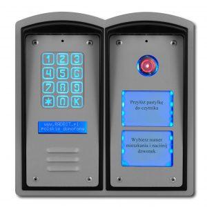 Cyfrowy domofon wielorodzinny do bloku z szyfratorem, czytnikiem i listą lokatorów